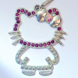 HELLO KITTY!! pink purple rhinestone necklace NWOT
